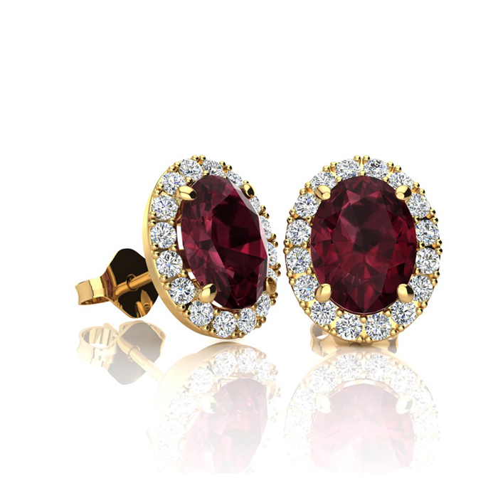 1.25 Carat Oval Shape Garnet & Halo Diamond Stud Earrings in 10K