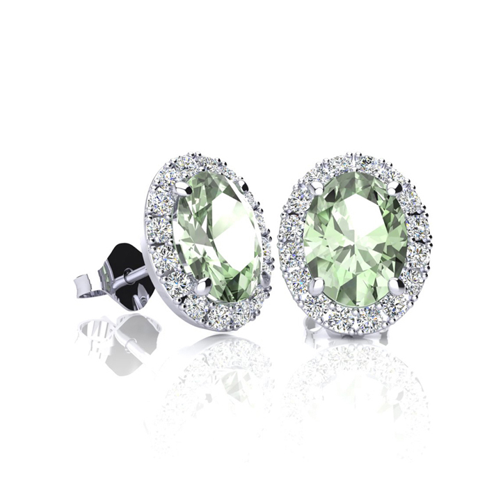 1 Carat Oval Shape Green Amethyst & Halo Diamond Stud Earrings in
