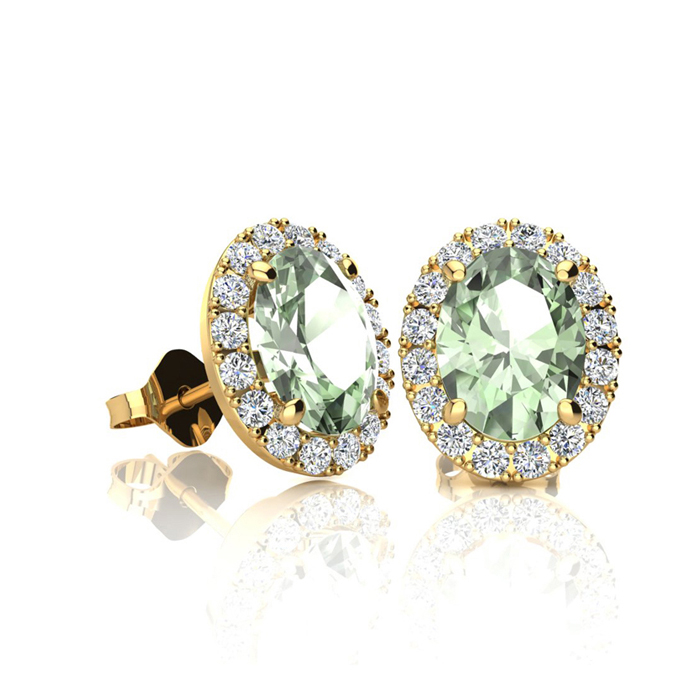 1 Carat Oval Shape Green Amethyst & Halo Diamond Stud Earrings in 14K Yellow Gold, I/J by SuperJeweler