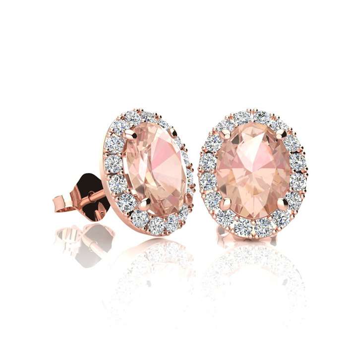 1 Carat Oval Shape Morganite & Halo Diamond Stud Earrings in 10K Rose Gold, I/J by SuperJeweler