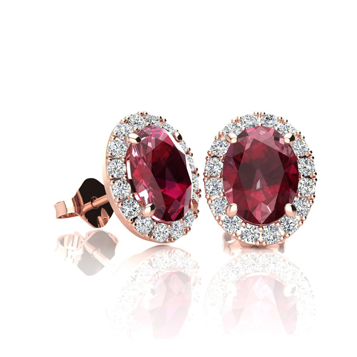 1.25 Carat Oval Shape Ruby & Halo Diamond Stud Earrings in 10K Ro
