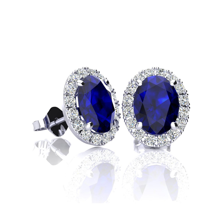 1 1/3 Carat Oval Shape Sapphire & Halo Diamond Stud Earrings in 10K White Gold, I/J by SuperJeweler
