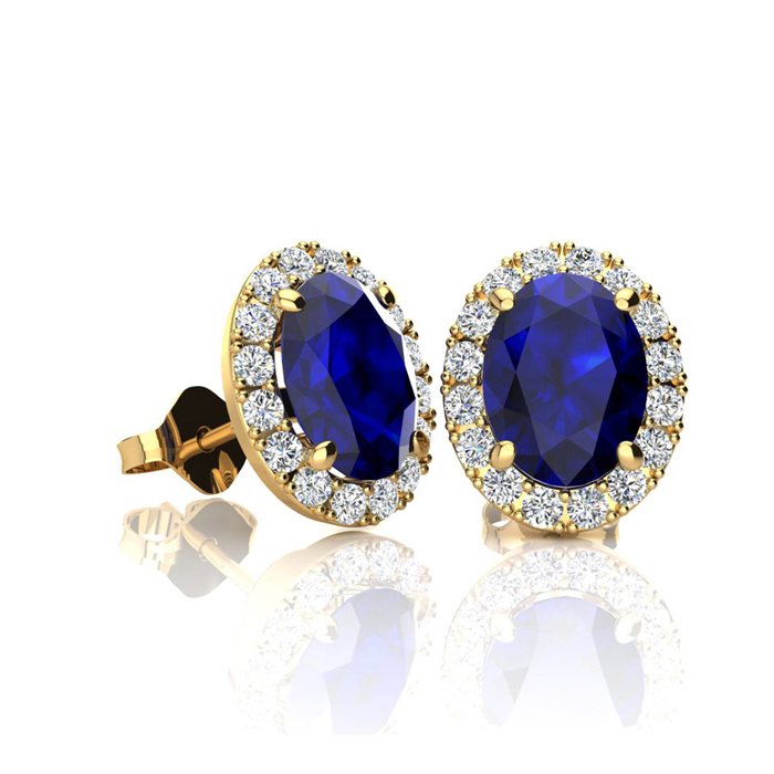 1 1/3 Carat Oval Shape Sapphire & Halo Diamond Stud Earrings in 1