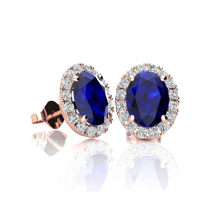 1 1/3 Carat Oval Shape Sapphire & Halo Diamond Stud Earrings in 10K Rose Gold, I/J by SuperJeweler
