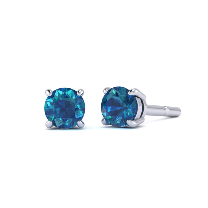 1/5 Carat Blue Diamond Stud Earrings in 10k White Gold by Hansa