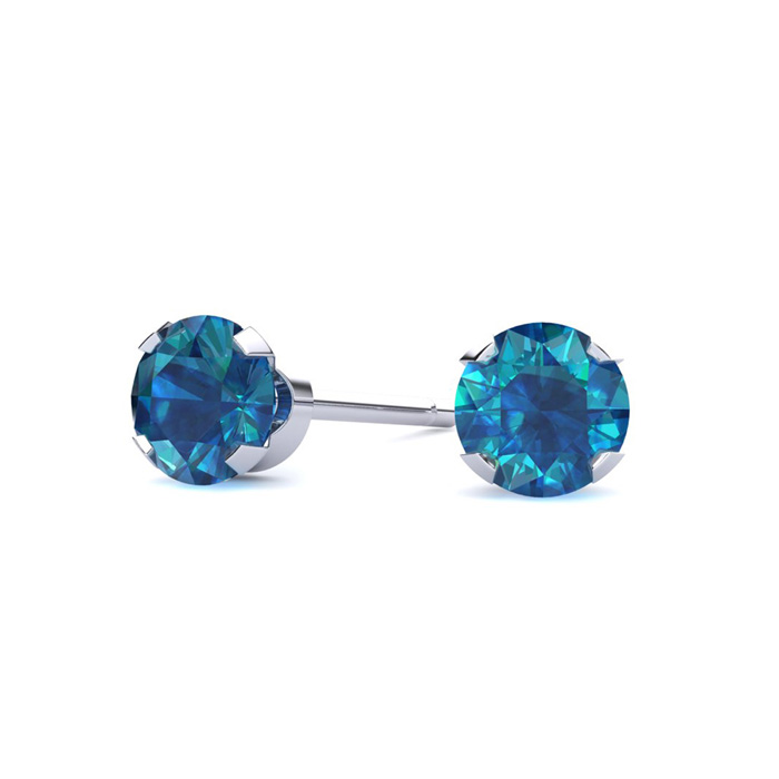 1/3 Carat Blue Diamond Stud Earrings in White Gold by Hansa