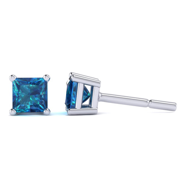1/2 Carat Blue Diamond Princess Cut Stud Earrings in White Gold b