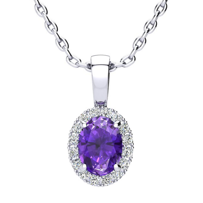 3/4 Carat Oval Shape Amethyst & Halo Diamond Necklace in 14K Whit
