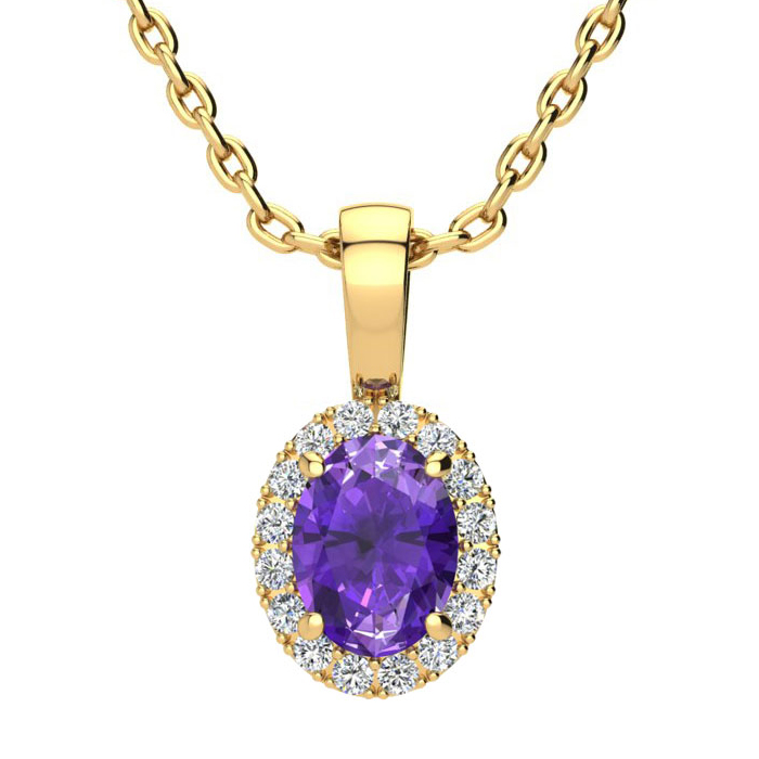 3/4 Carat Oval Shape Amethyst & Halo Diamond Necklace in 14K Yell
