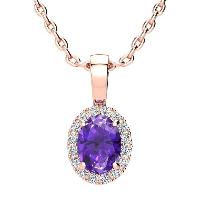 3/4 Carat Oval Shape Amethyst & Halo Diamond Necklace in 10K Rose