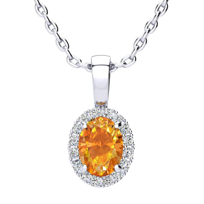 3/4 Carat Oval Shape Citrine & Halo Diamond Necklace in 14K White