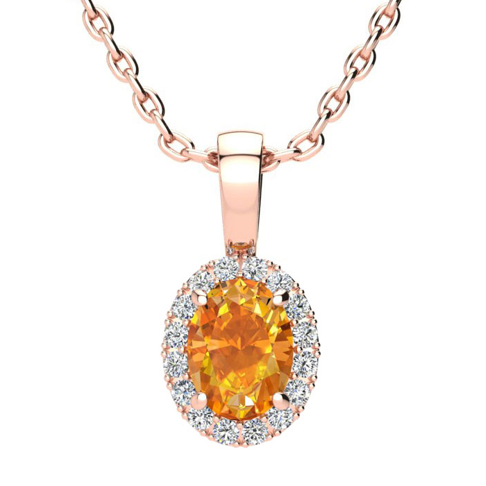 3/4 Carat Oval Shape Citrine & Halo Diamond Necklace in 14K Rose