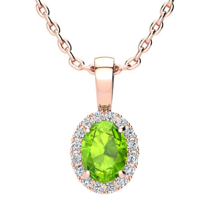 1 Carat Oval Shape Peridot & Halo Diamond Necklace in 10K Rose Go