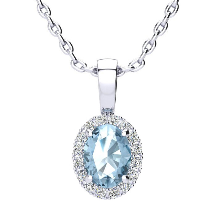 1 Carat Oval Shape Blue Topaz & Halo Diamond Necklace in 10K Whit