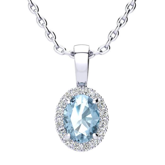 1 Carat Oval Shape Blue Topaz & Halo Diamond Necklace in 14K Whit