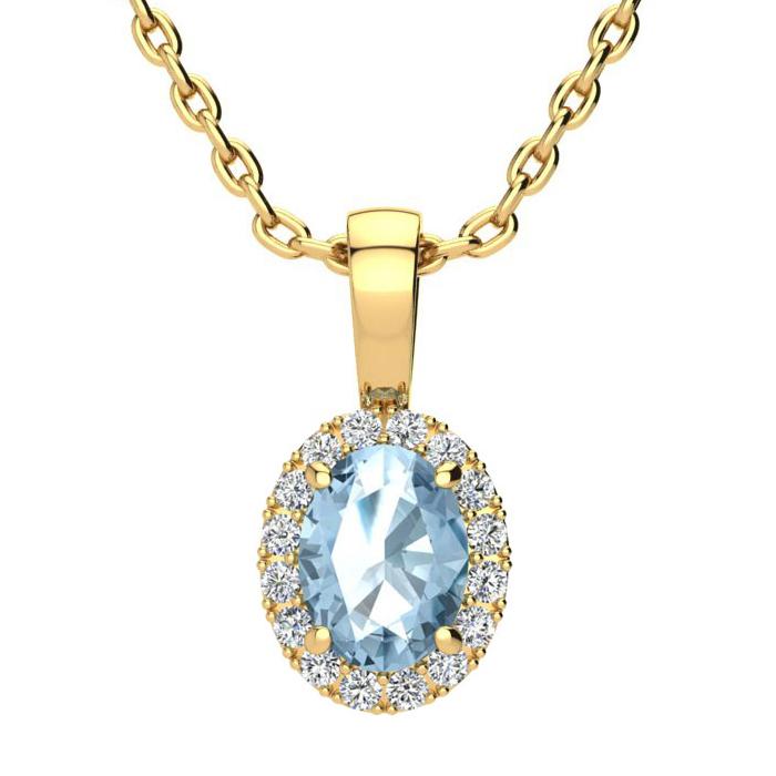 1 Carat Oval Shape Blue Topaz & Halo Diamond Necklace in 14K Yell