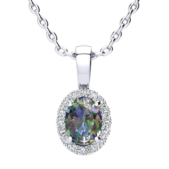 1 Carat Oval Shape Mystic Topaz & Halo Diamond Necklace in 10K Wh