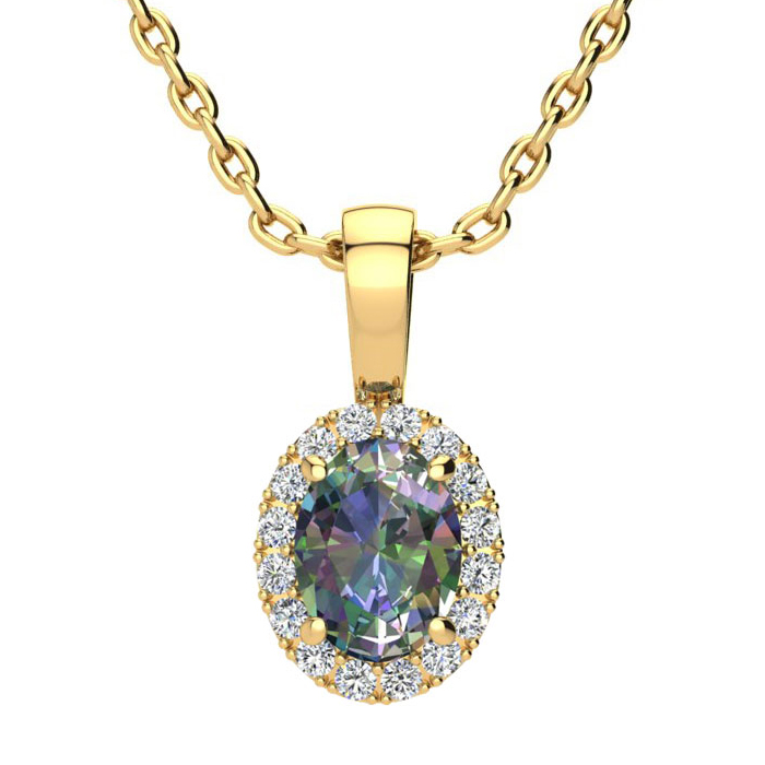 1 Carat Oval Shape Mystic Topaz & Halo Diamond Necklace in 14K Ye
