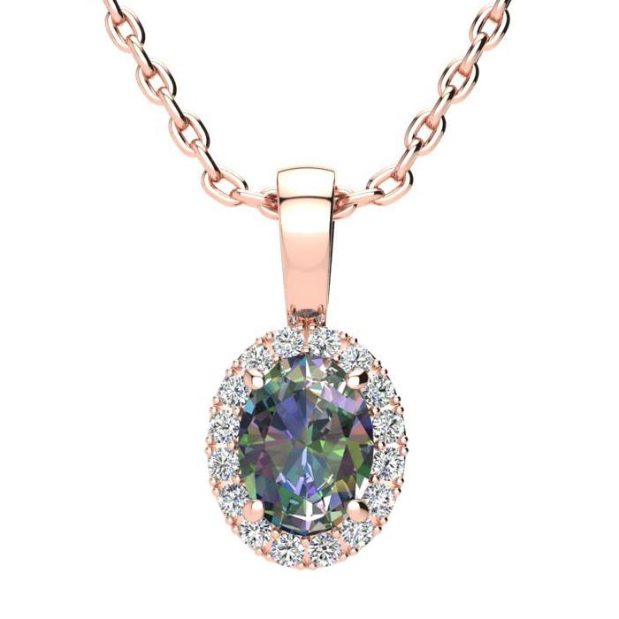 1 Carat Oval Shape Mystic Topaz & Halo Diamond Necklace in 10K Ro