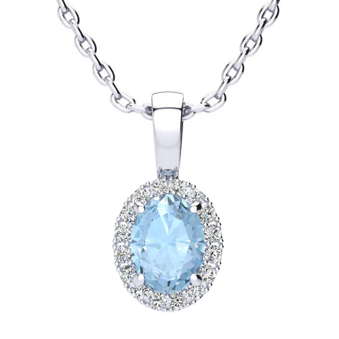 0.90 Carat Oval Shape Aquamarine & Halo Diamond Necklace in 14K W