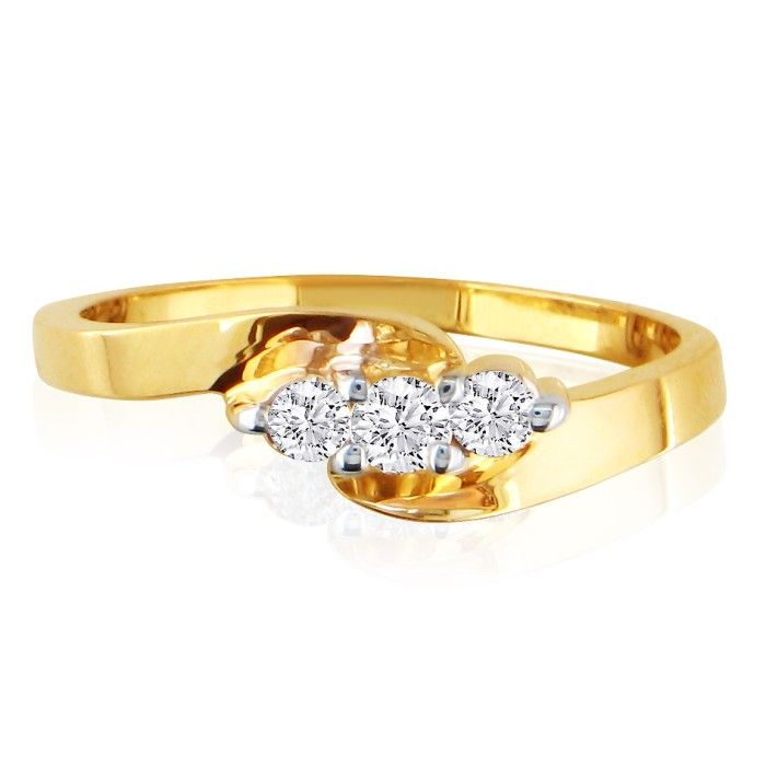 1/5 Carat Three Diamond Ring in 10k Yellow Gold, J/K by SuperJewe