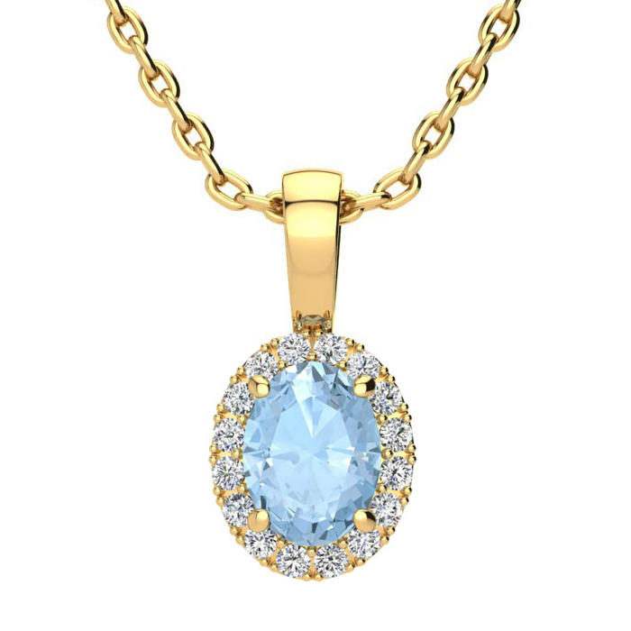 0.90 Carat Oval Shape Aquamarine & Halo Diamond Necklace in 10K Y