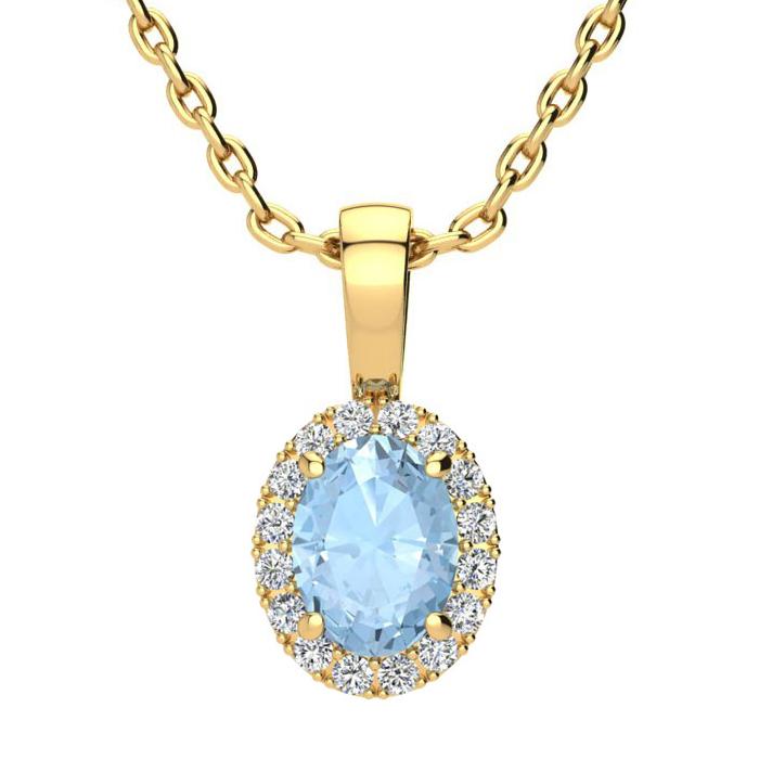 0.90 Carat Oval Shape Aquamarine & Halo Diamond Necklace in 14K Y