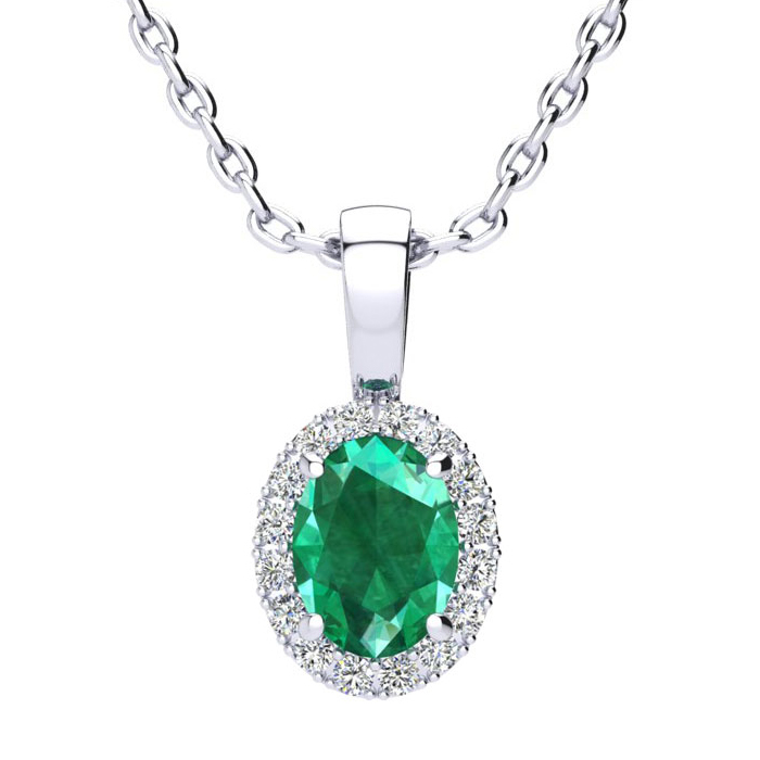 0.90 Carat Oval Shape Emerald Cut & Halo Diamond Necklace in 10K White Gold w/ 18 Inch Chain, I/J by SuperJeweler