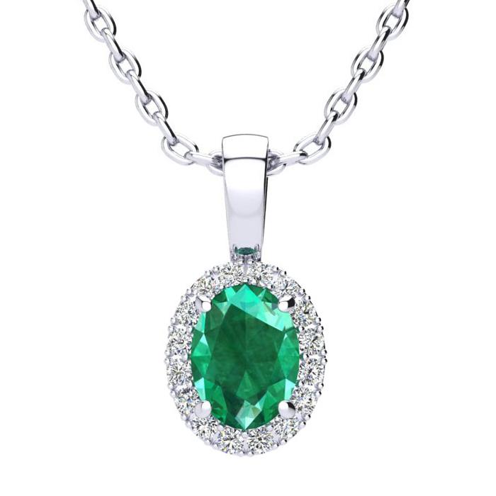 0.90 Carat Oval Shape Emerald Cut & Halo Diamond Necklace in 14K