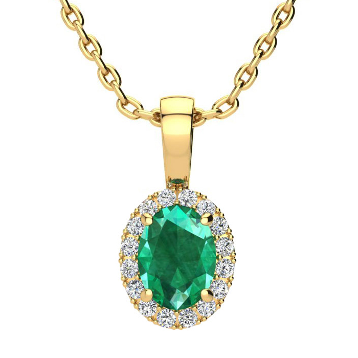0.90 Carat Oval Shape Emerald Cut & Halo Diamond Necklace in 14K