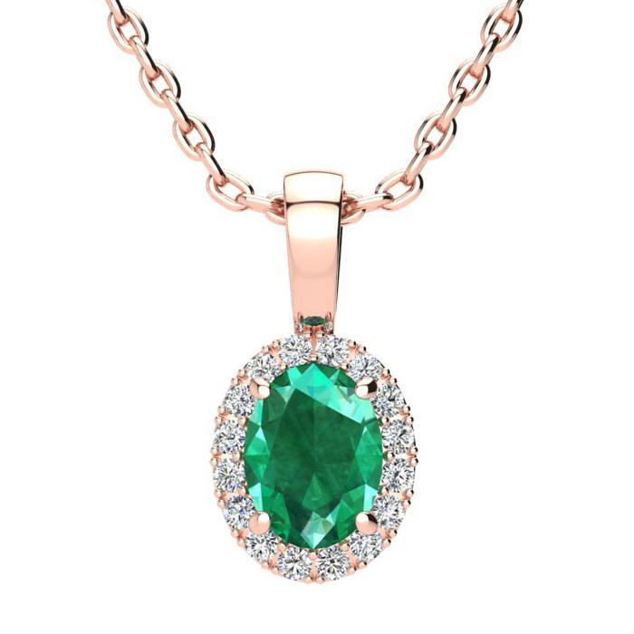 0.90 Carat Oval Shape Emerald Cut & Halo Diamond Necklace in 10K
