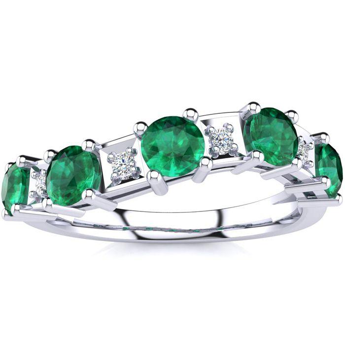 1 1/3 Carat Emerald Cut & Diamond Journey Band Ring in 10K White Gold (3.5 g), I/J by SuperJeweler