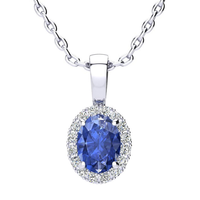 1 Carat Oval Shape Tanzanite & Halo Diamond Necklace in 14K White