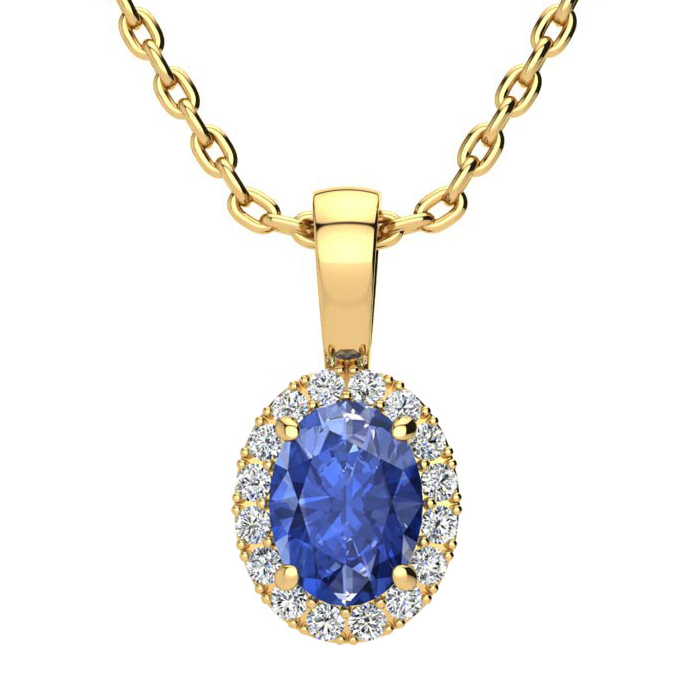 1 Carat Oval Shape Tanzanite & Halo Diamond Necklace in 10K Yello