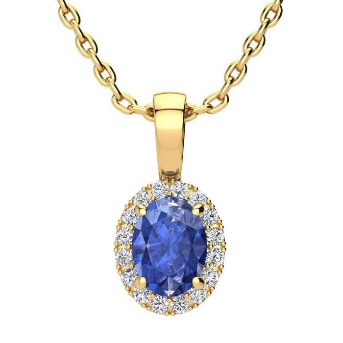 1 Carat Oval Shape Tanzanite & Halo Diamond Necklace in 10K Yellow Gold w/ 18 Inch Chain, I/J by SuperJeweler