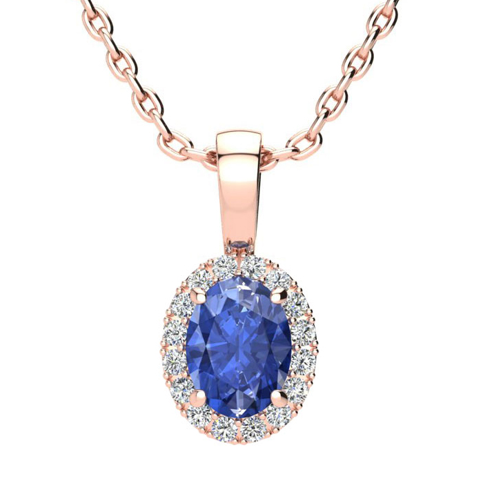 1 Carat Oval Shape Tanzanite & Halo Diamond Necklace in 14K Rose