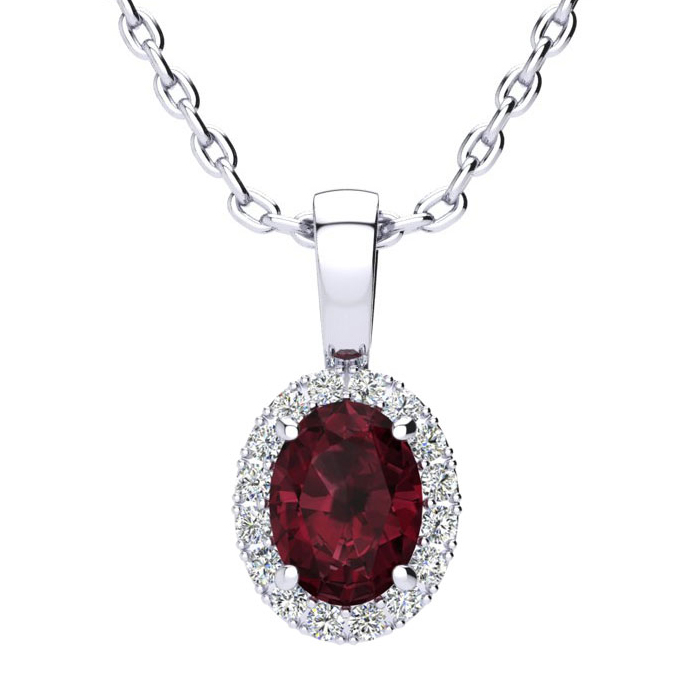 1 Carat Oval Shape Garnet & Halo Diamond Necklace in 10K White Go
