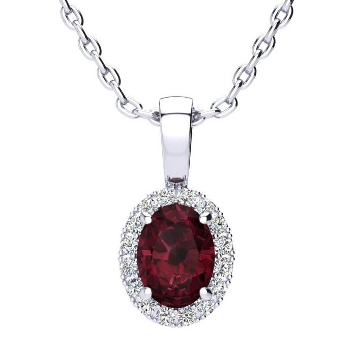 1 Carat Oval Shape Garnet & Halo Diamond Necklace in 14K White Go