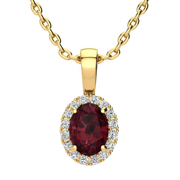 1 Carat Oval Shape Garnet & Halo Diamond Necklace in 14K Yellow G