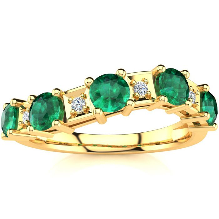 1 1/3 Carat Emerald Cut & Diamond Journey Band Ring in 10K Yellow Gold (3.5 g), I/J by SuperJeweler
