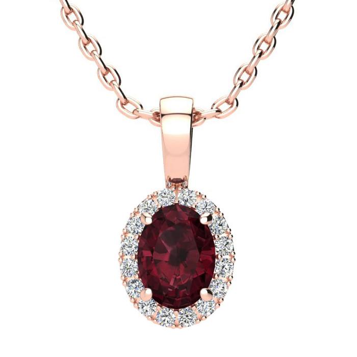 1 Carat Oval Shape Garnet & Halo Diamond Necklace in 10K Rose Gol