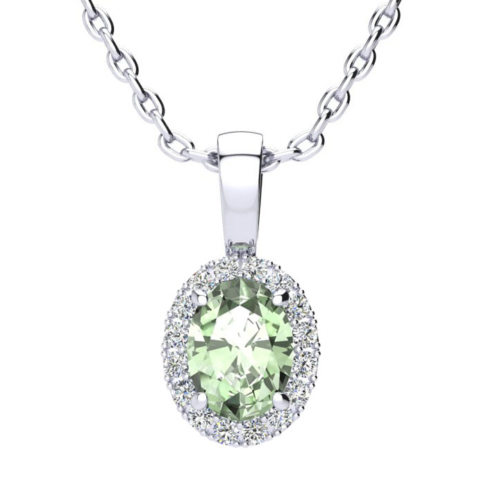 3/4 Carat Oval Shape Green Amethyst & Halo Diamond Necklace in 10