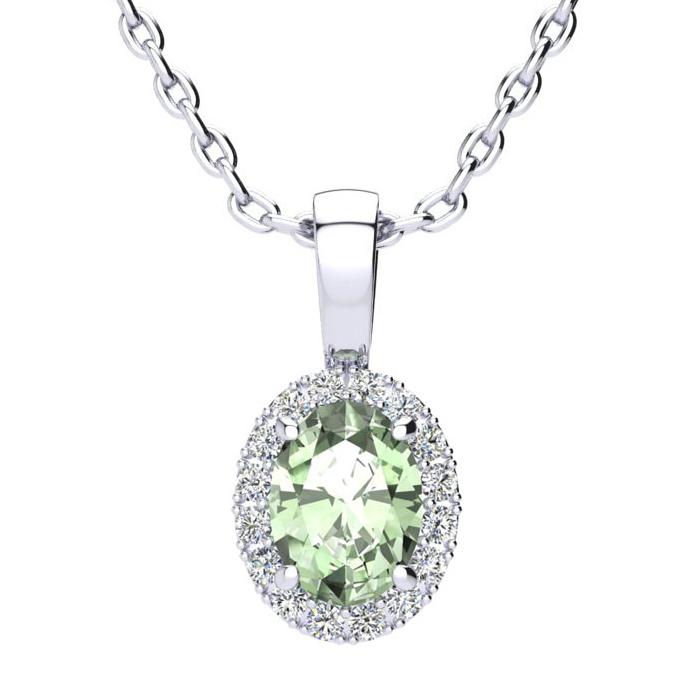 3/4 Carat Oval Shape Green Amethyst & Halo Diamond Necklace in 14