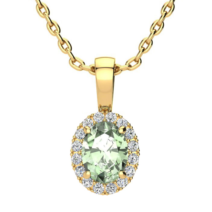 3/4 Carat Oval Shape Green Amethyst & Halo Diamond Necklace in 10