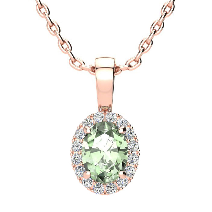 3/4 Carat Oval Shape Green Amethyst & Halo Diamond Necklace in 14