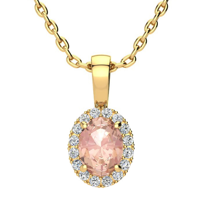 0.90 Carat Oval Shape Morganite & Halo Diamond Necklace in 14K Yellow Gold w/ 18 Inch Chain, I/J by SuperJeweler