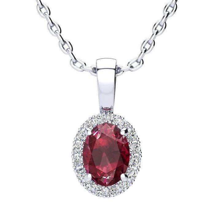1 Carat Oval Shape Ruby & Halo Diamond Necklace in 10K White Gold