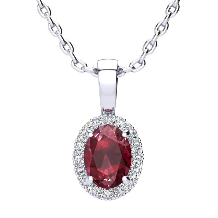 1 Carat Oval Shape Ruby & Halo Diamond Necklace in 14K White Gold w/ 18 Inch Chain, I/J by SuperJeweler