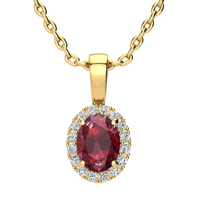 1 Carat Oval Shape Ruby & Halo Diamond Necklace in 14K Yellow Gol