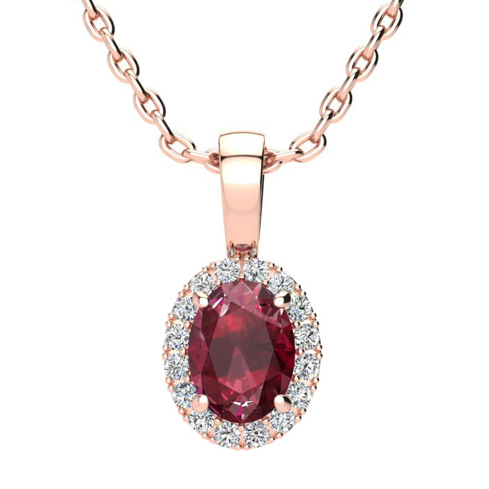 1 Carat Oval Shape Ruby & Halo Diamond Necklace in 14K Rose Gold